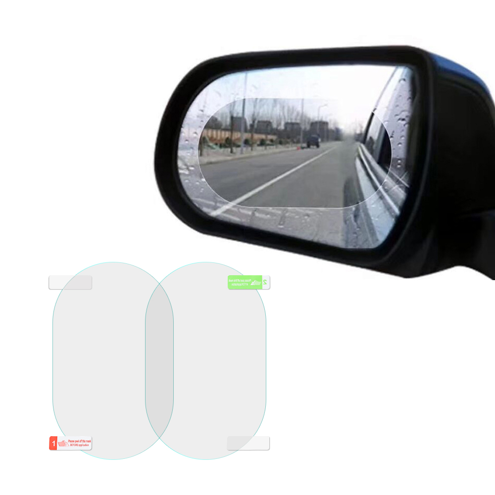 Mobile Phone Accessories 2pcs Rainproof Car Rearview Mirror Film Sticker Anti-Fog Protective Transparent Film Rain Shield Replacement Stickers On All Car 10cm and 10cm