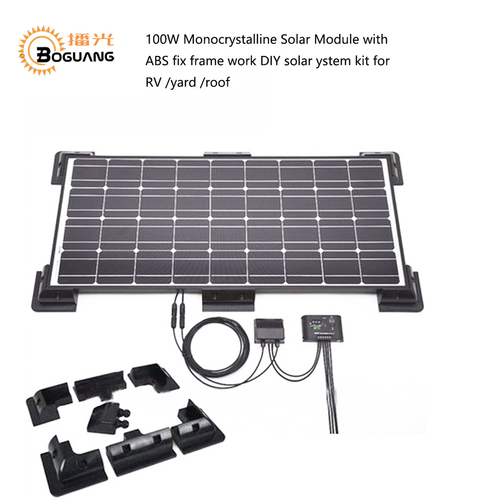 Solarparts 1x 100W Monocrystalline Solar Module by ABS fix frame solar cell factory cheap selling 12V
