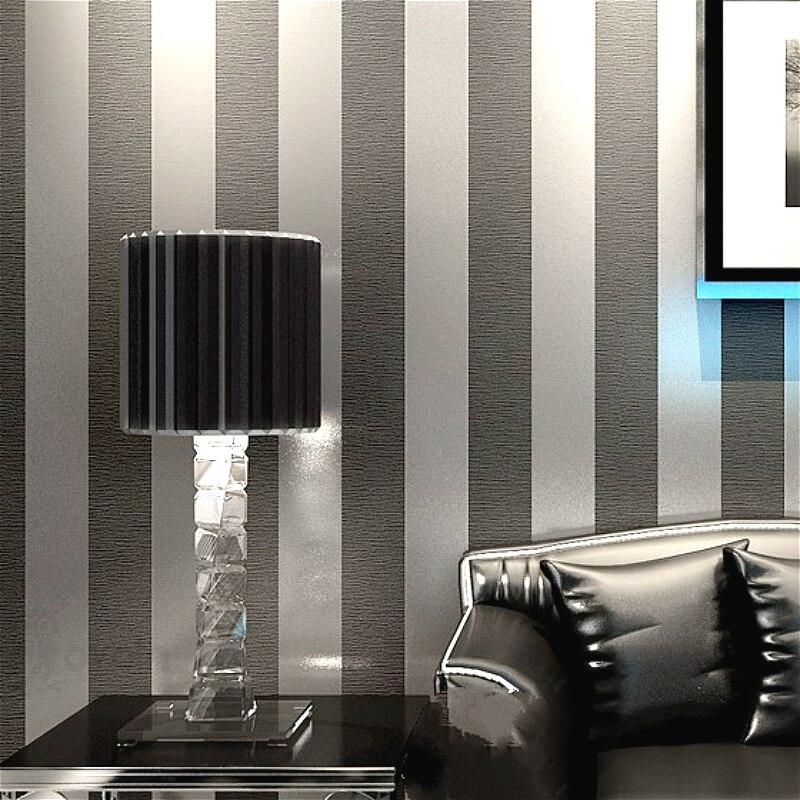 Papier peint rayé Vertical décor à la maison pour salon chambre revêtements muraux métallique noir argent moderne papier peint de luxe