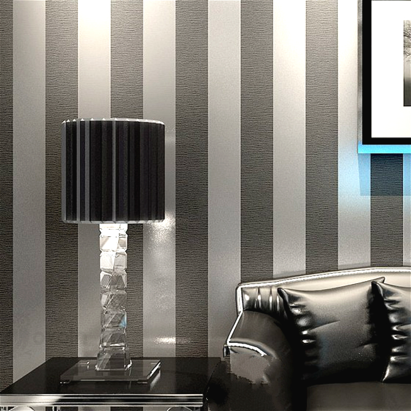 Vertical Striped Wallpaper Home Decor For Living Room Bedroom Wall Coverings Metallic Black Silver Modern Luxury Wall Paper