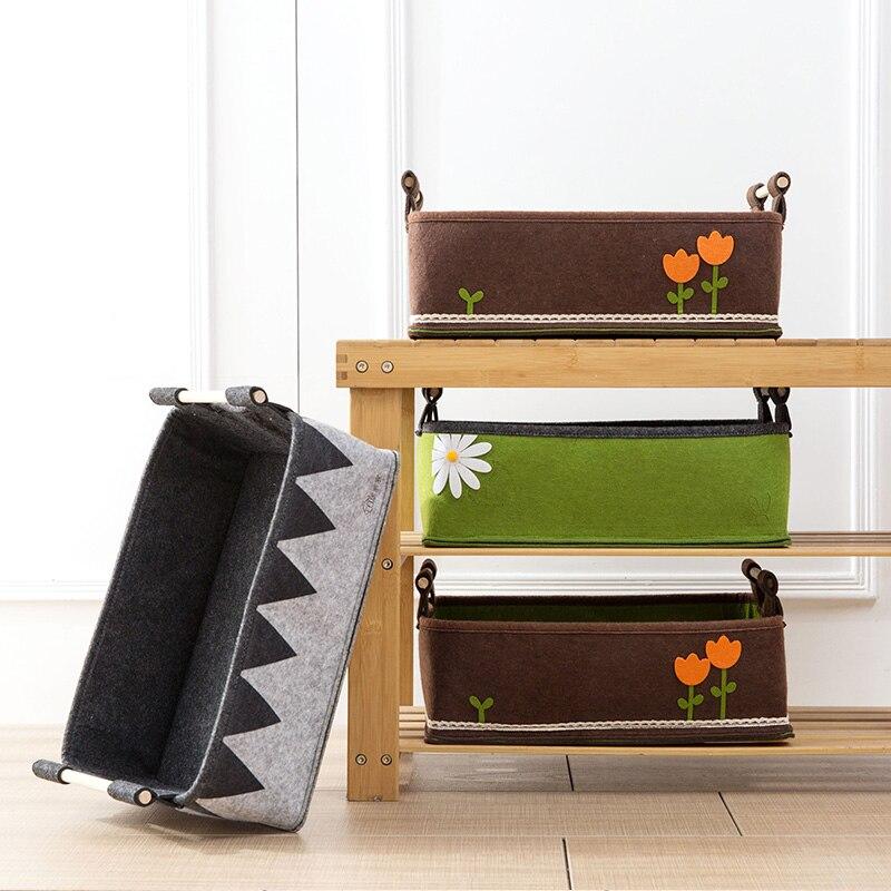 Creative Handle Laundry Basket Makeup Desktop Storage Box Toys Magazine Snack Clothes Storage Basket Felt Thickness Bins Home