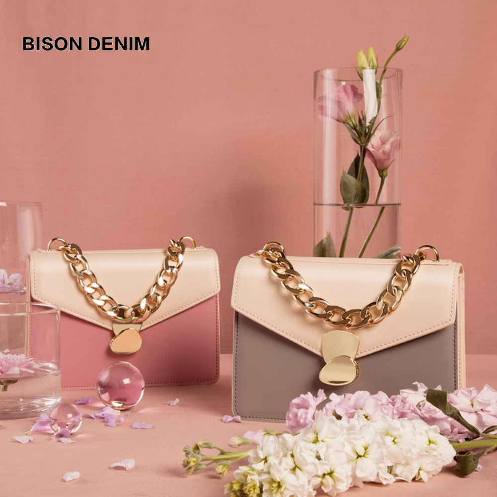 BISON New luxury handbags Women Bags designer Cow Leather Fashion crossbody bags for Women 2019 Ladies