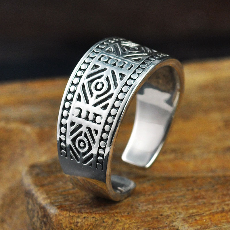 Fashion 925 Silver Rings Pattern Adjustable Size 6-9 Trendy Popular S925 Solid Thai Silver Ring for Men Jewelry fashion splash ink pattern adjustable buckle cabbie hat for men