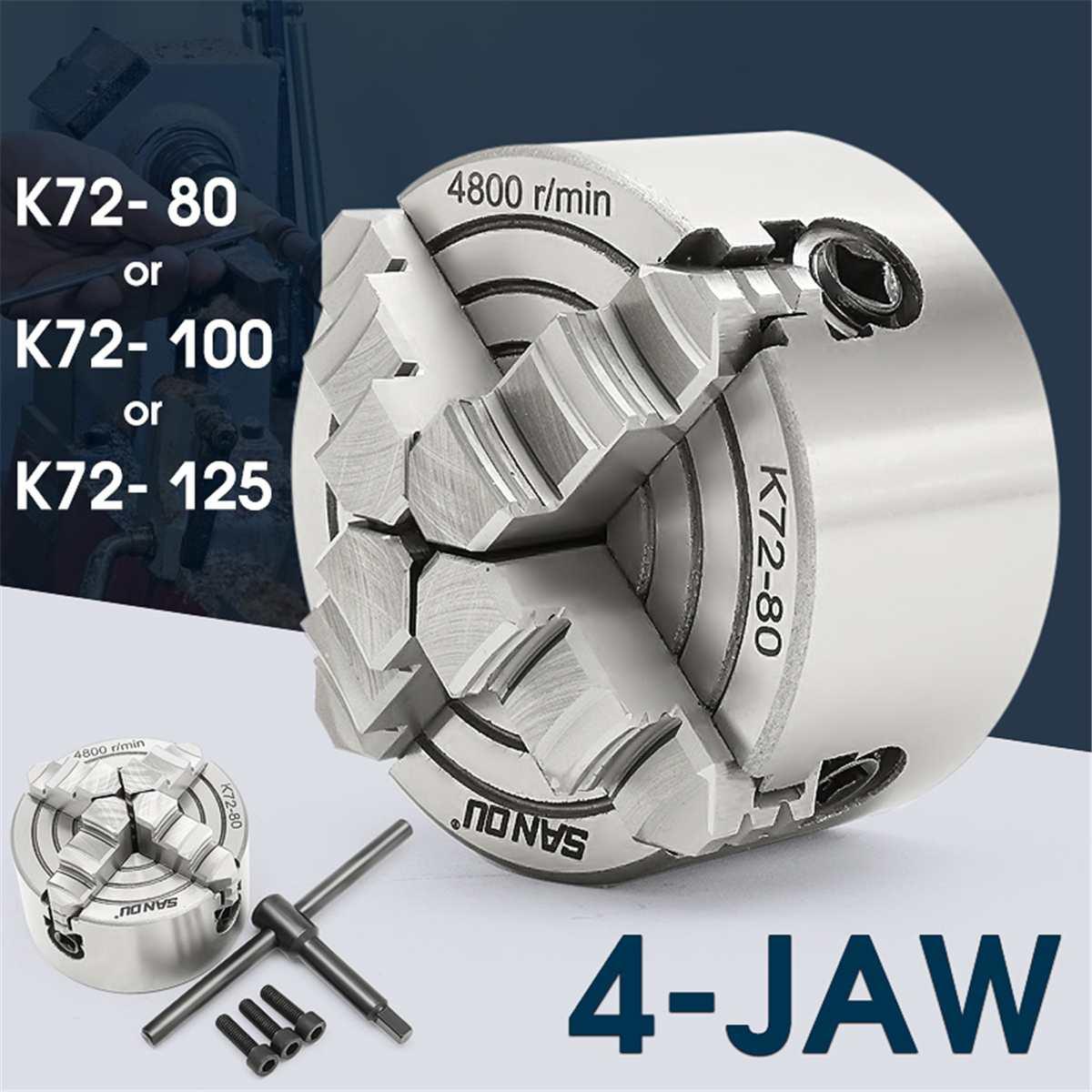 K72- 80/K72- 100/K72- 125 4 Jaw Lathe Chuck 80mm/100mm/125mm Independent Self-Centering 1pcs Safety Chuck Key 3pcs Mounting Bolt