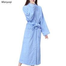 Осенне-зимняя обувь 100% хлопок плотные женские халаты полотенце Домашняя одежда махровый Халат сплошной цвет длинным домашний халат для женщин
