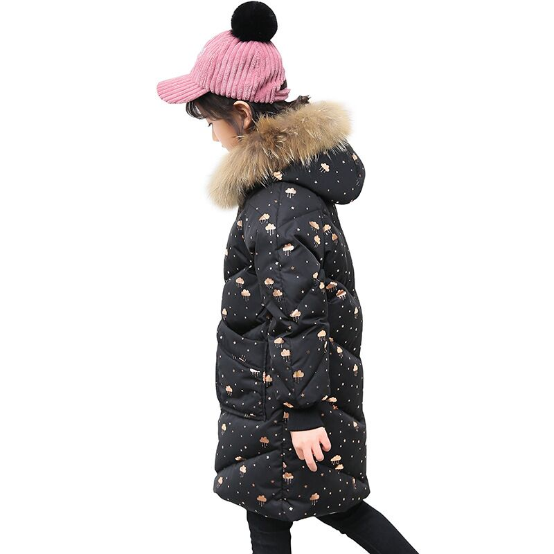 Cold Winter Girls Warm Clothes 6-14year Infant Coat 2019 Kids Thicken Jacket stars printed Snowsuit black collars long OuterwearCold Winter Girls Warm Clothes 6-14year Infant Coat 2019 Kids Thicken Jacket stars printed Snowsuit black collars long Outerwear