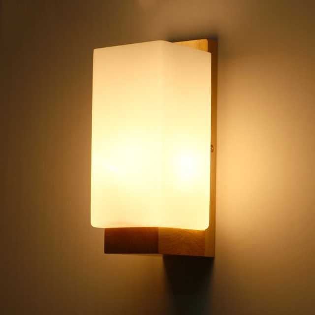 Wooden Wall Lamp Shades : Aliexpress.com : Buy Oak Wood Wall Light Frosted Glass Shade E27 220V Bedside Creative Lamp Art ...
