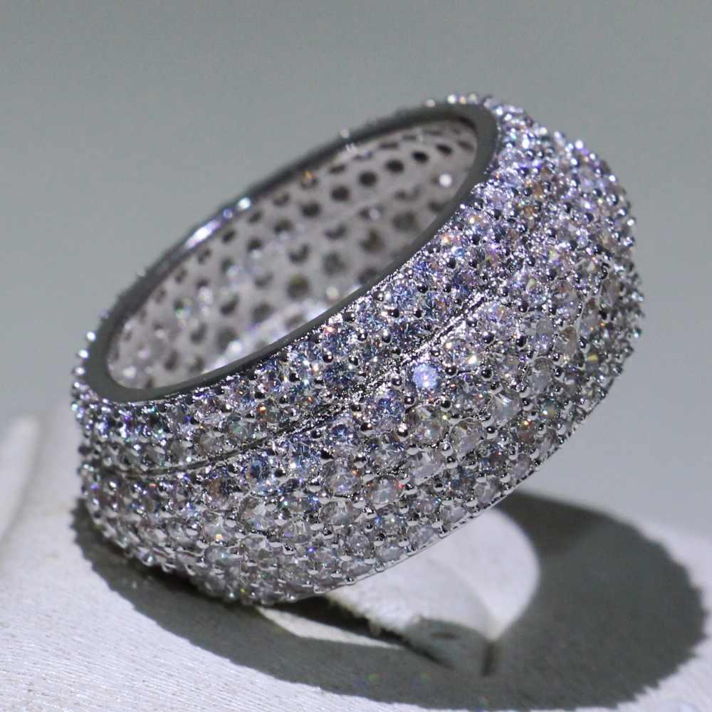 مجوهرات فاخرة أصلية ماركة فيكتوريا 925 من الفضة الإسترليني الممهدة مايكرو شفاف 5A زركون الوعد بحزام زواج للنساء