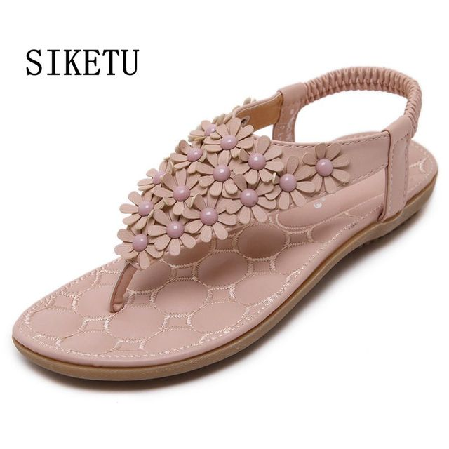 92f549655d2d31 SIKETU Gray pink flowers women sandals New Flip-flop Flats sandals flip  women s sandals flats bohemia flower soft outsole shoes