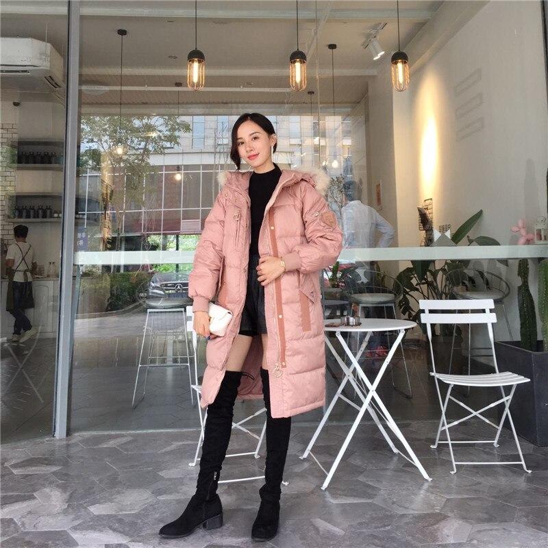 Nouveau Coréenne Le Capuchon Manteaux À Veste No575 Épaississent Vers Survêtement Col Femmes pink Fourrure Automne De Parkas Gray Casual Bas Hiver Grand 2018 awzFcg6c0q