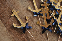 Glitter Gold with Blue Bowknot Navy Anchor Sailor Cupcake Topper 10pcs/pack Nautical Themed Kids Birthday Party Baby Shower
