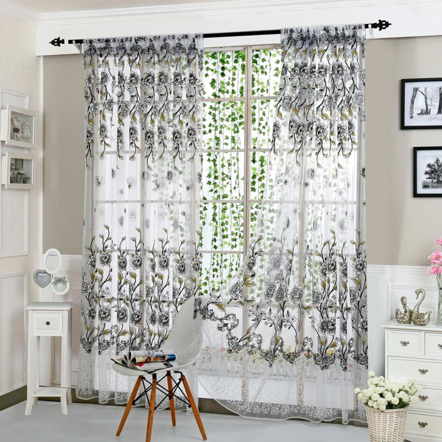 Peony sheer curtain tulle window treatment voile panel for Curtain fabric ideas for living room