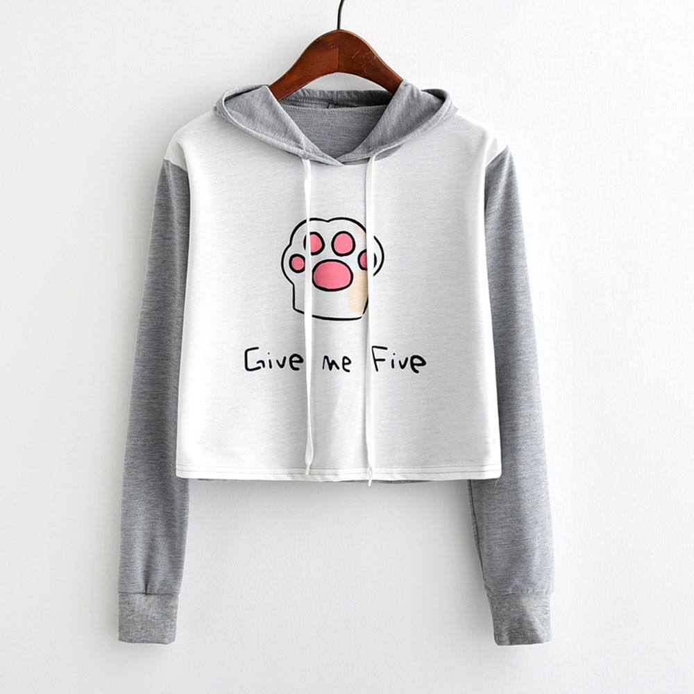 Kawaii Cat Claw Printed Short Sweatshirt Women Hoodies Tops Autumn Ladies Elegant Letter ...