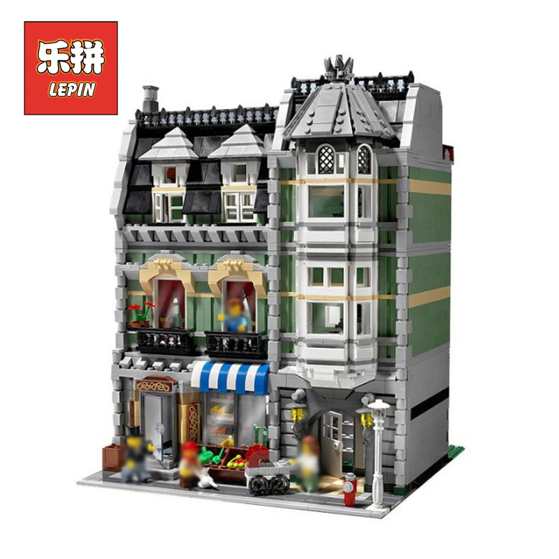 Lepin 15008 2462Pcs City Street Green Grocer Model Building Kits Blocks Bricks Compatible Legoing 10185 Educational Children toy in stock 2462pcs free shipping lepin 15008 city street green grocer model building kits blocks bricks compatible 10185
