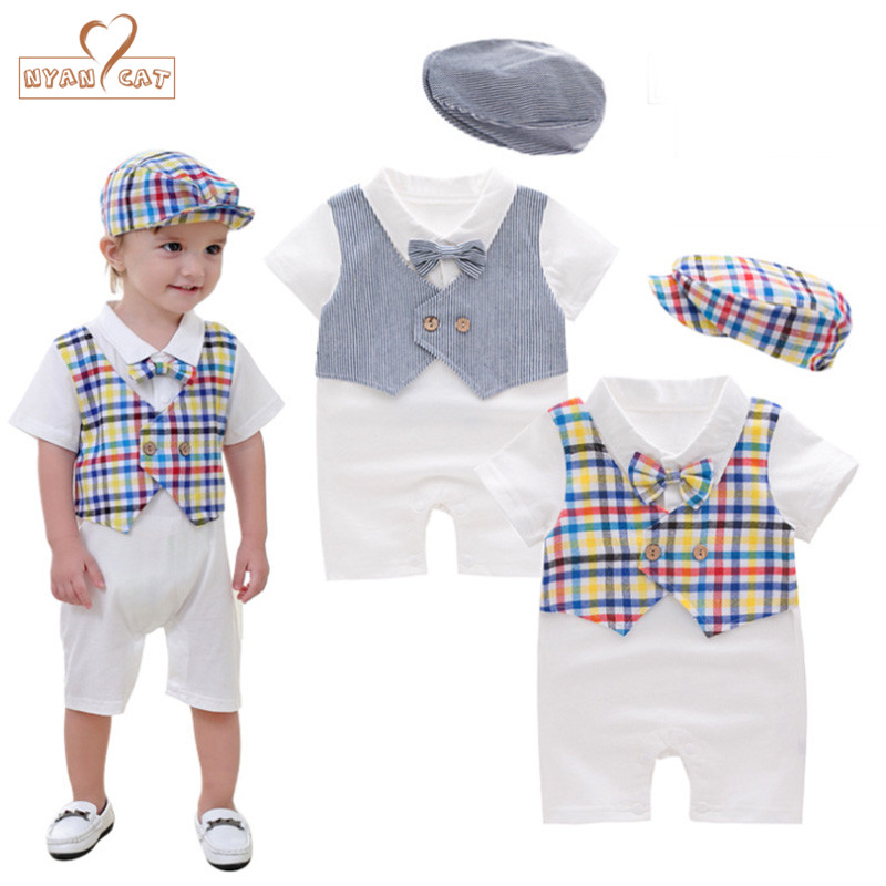 Nyan Cat Baby boy clothes romper summer short sleeves toddler infant kids romper+hat 2pcs set bow tie jumpsuit costume clothing nyan cat baby boy clothes short sleeves gentleman bow tie vest romper hat 2pcs set outfit jumpsuit rompers party cotton costume