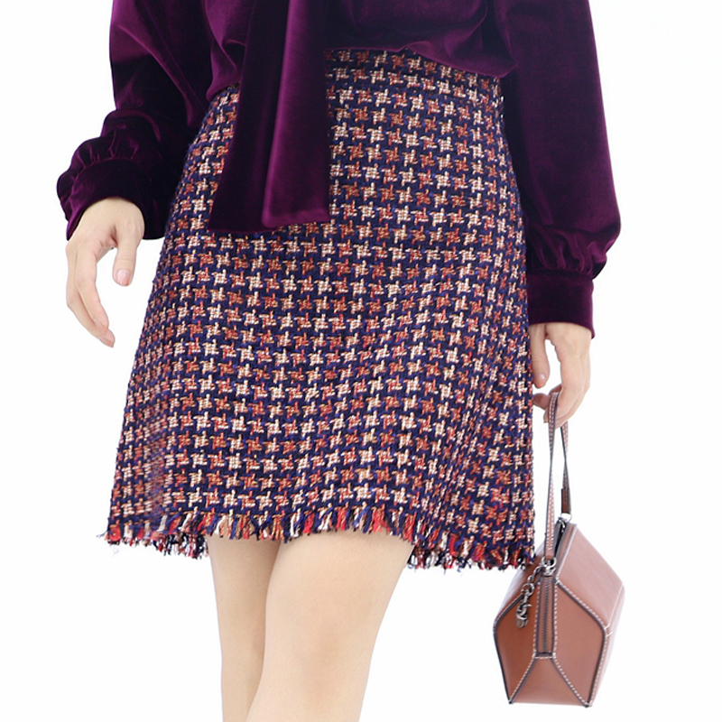 Red check tweed skirt 2019 spring autumn women s skirts ladies thick tweed fringed bag hip