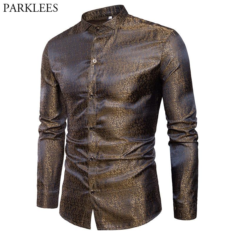 Mens Silk Satin Dress Shirt 2018 Fashion Swallow Collar Long Sleeve Shirt Men Nightclub Party Wedding Casual Shirt Chemise Homme