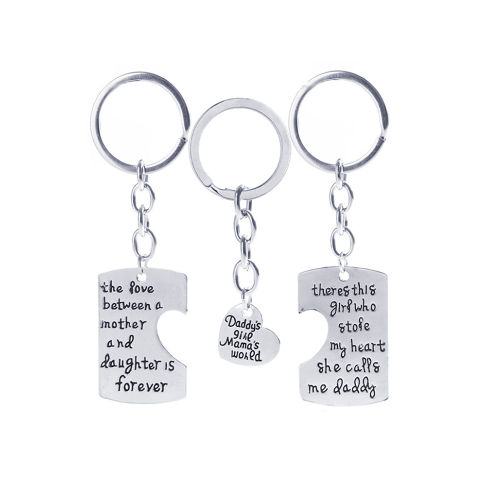 3pcs Daddy Girl Mom Mama World Charm Pendant Key Chain for Family Gift