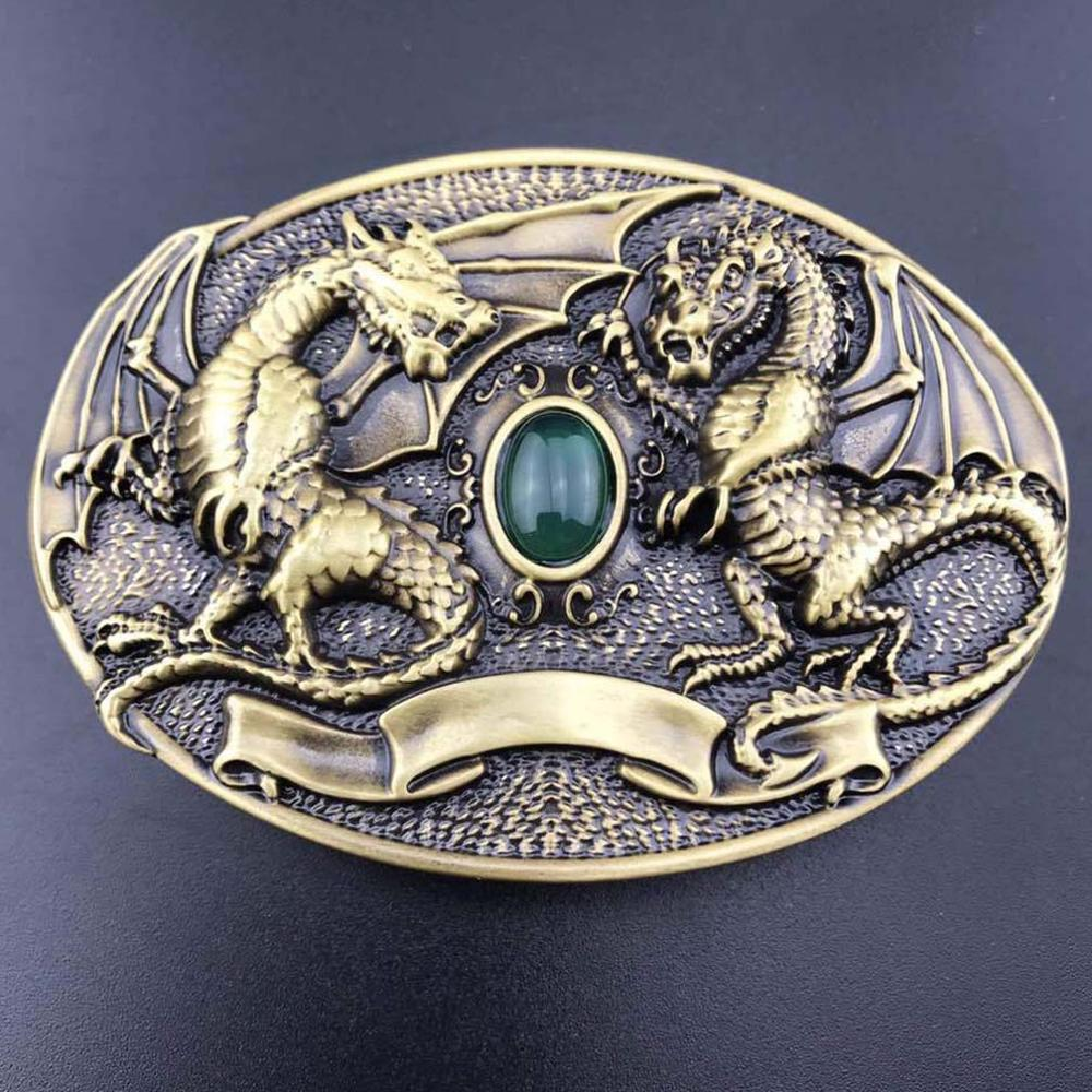 CUKUP Western VS Chinese Dragon Decorative Brass Buckle Metal Real Jade 3.7-3.9cm Wide Belt Cowboy Buckles Only for Men BRK020