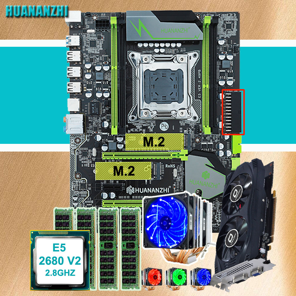 Brand motherboard on sale HUANANZHI X79 Pro motherboard with DUAL M.2 slot video card GTX750Ti 2G CPU Xeon E5 <font><b>2680</b></font> V2 RAM 32G image