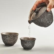 Rust Glaze Ceramic Portable Tea Pot Japanese Style Travel Teapot Kettle Vintage Kung Fu Set 1 2 Cups HandMade Gaiwan