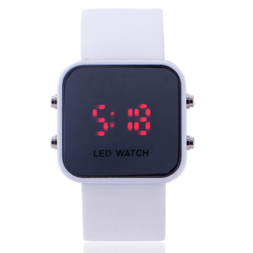 Fashion Concise Mirror Face Square Dial LED Monitor Multicolor Silicone Band Men Women Electronic Digital Wrist WatchFashion Concise Mirror Face Square Dial LED Monitor Multicolor Silicone Band Men Women Electronic Digital Wrist Watch
