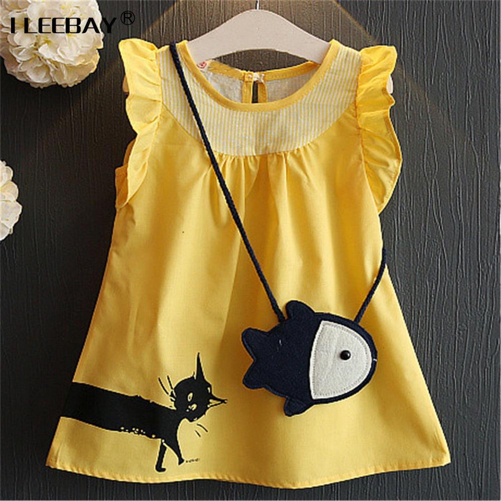 Baby Casual Dress Girls Print Sundress Cartoon Cat and Fish Cute Costume Children A-line Vest Dress Girl Yellow Cotton Clothes толстовка кенгуру женская dakine girls print hoodie yellow