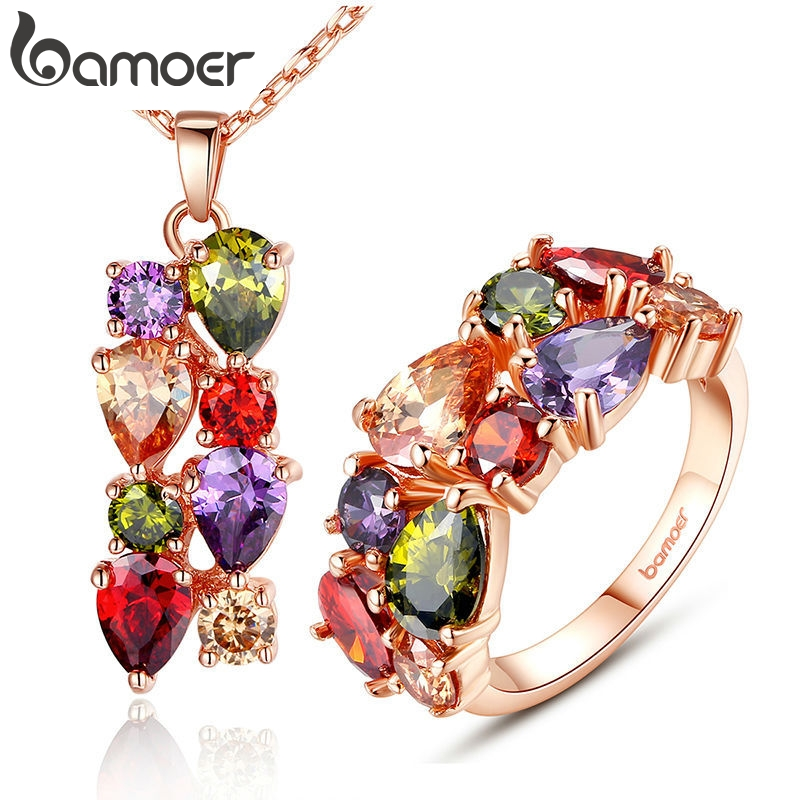 BAMOER Jewelry-Sets Cubic-Zircon Anniversary Gold-Color Women New Mona Lisa More Amp