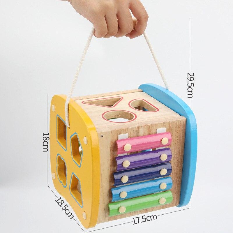Multi-fonction forme boîte jouet contient Xylophone Abacus assemblage blocs de construction bébé début de la tête formation Montessori jouets - 5
