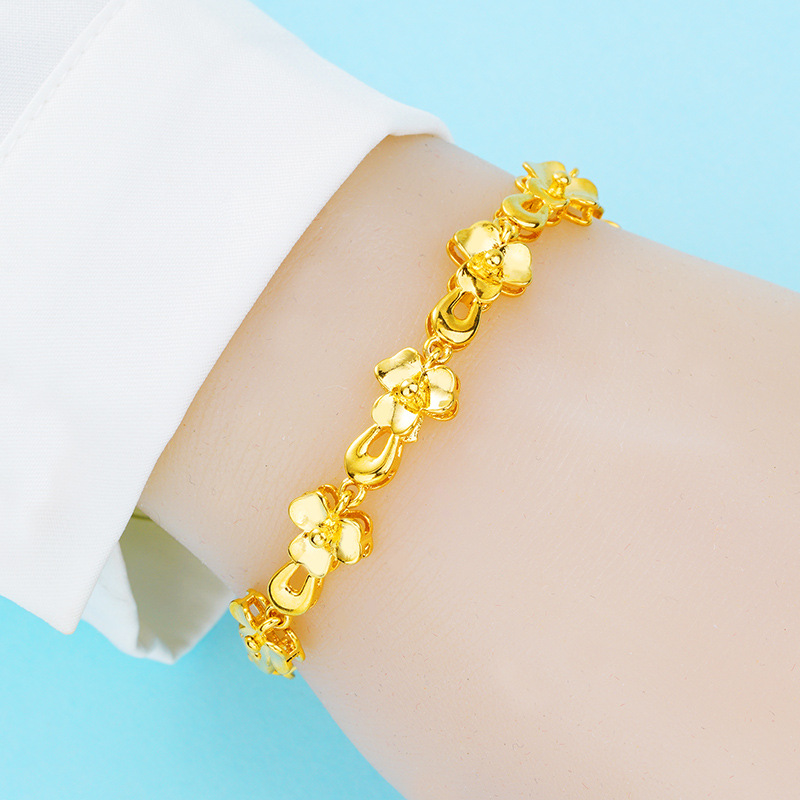 Misheng Classic Gold Flower Bracelet Fashion Female Jewelry Simple Link Chain Glamour Womens Accessories 2019 New