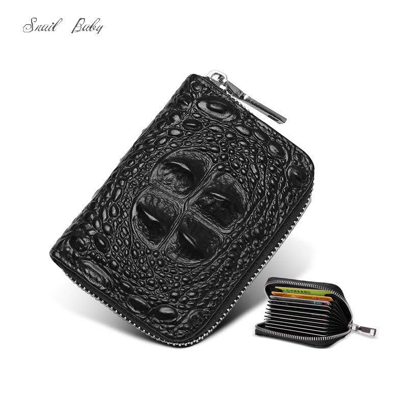 Nouveau alligator véritable porte-cartes en cuir carte à glissière sac multi carte de crédit sac