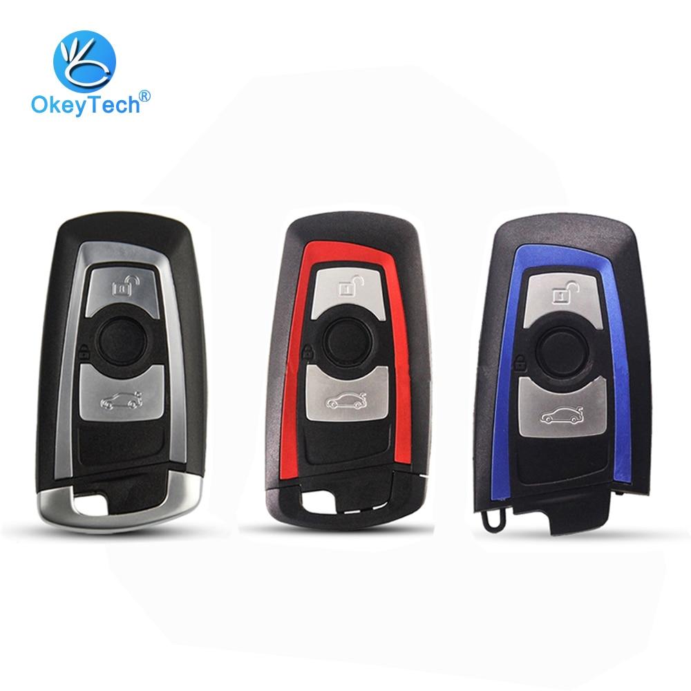 OkeyTech Smart Key Shell Cover Case Keyless For BMW CAS4 F 3 5 7 Series E90 E92 E93 X5 HU100R With Uncut Blank Blade