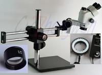 Trinocular Stereo Microscope 3.5X 45X  Stereo Microscope on Ball Bearing Boom Stand Simul Focal Microscope +60 led Light Microscopes Tools -