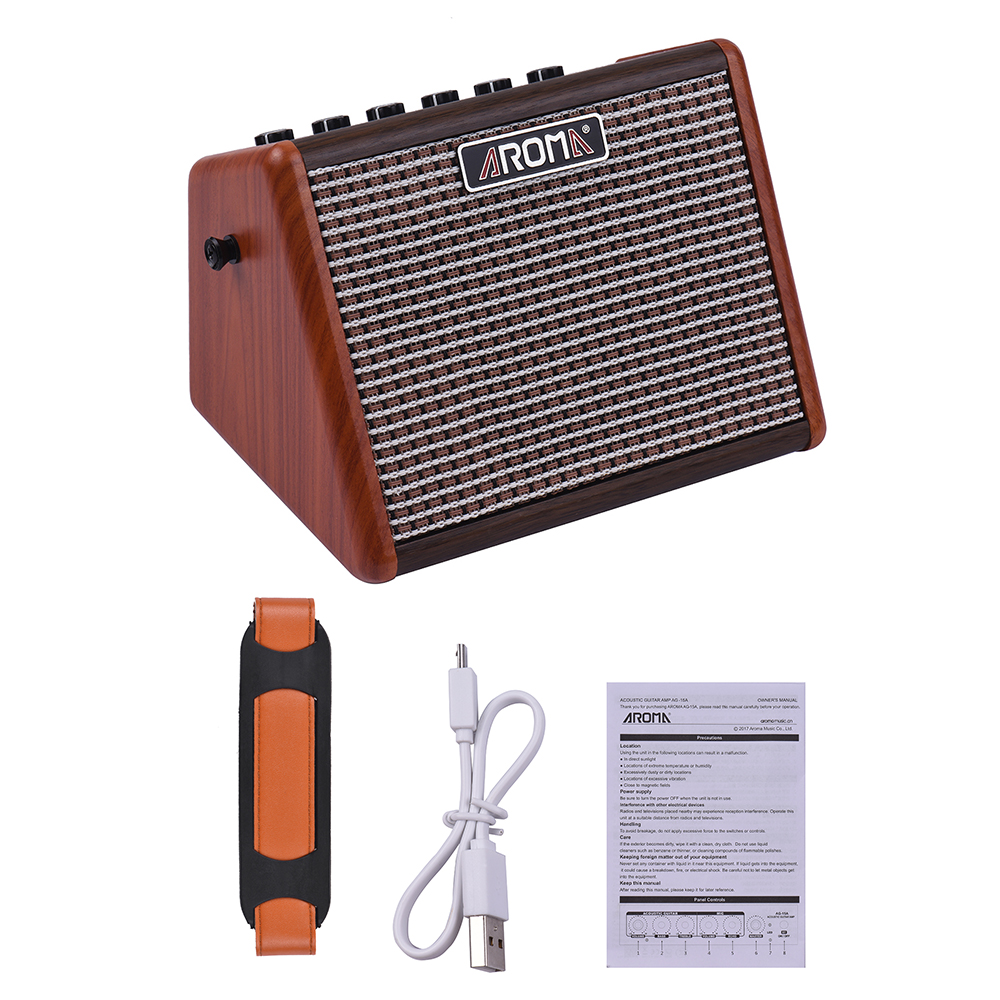 AROMA AG 15A 15W Acoustic Guitar Amplifier Portable Guitar BT Speaker Built in Rechargeable Battery with