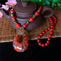 Restore Ancient Boho Style Coloured Glaze Long Sweater Chain New Ethnic Jewelry Handmade Red Turquoise Beaded Necklace Pendants