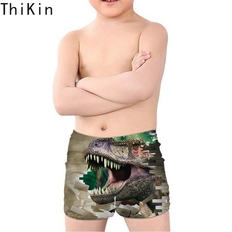 THIKIN Summer Swim Trunks for Kids Boys Cool 3D Dinosaur Printing Children Swimming Suits Beach Bathing Sports Swimwear Shorts in Men 39 s Trunks from Sports amp Entertainment