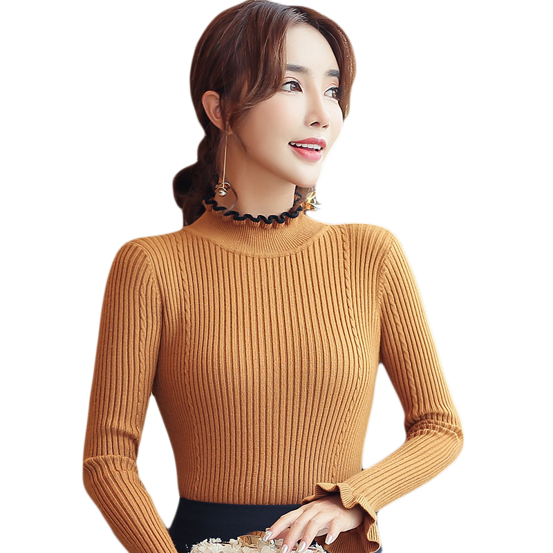 Forceful Khaki Korean Sweater Jumper Women Pullovers Knit Shirt Stretched Bottoming Slim Tops Ruffles Autumn Winter Clothes Women C91406 Goods Of Every Description Are Available