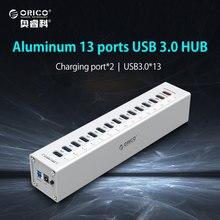 ORICO A3H13P2-SV High-speed 5 Gpbs 13 Ports USB 3.0 Lade HUB Splitter 5V2. 4A/1A für Ipad Iphone Xiaomi Ladegerät Aluminium