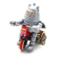 Vintage Clockwork Wind Up Ring Down Robot Classic Children Tin Toys With Key Fun Toys For