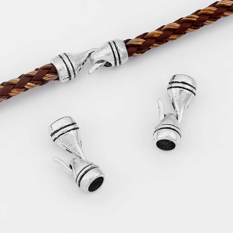 10sets Antique Silver End Cap Hook Clasp For 5mm Round Leather Cord Bracelet Bangle Jewelry Making Accessories Findings 24mm