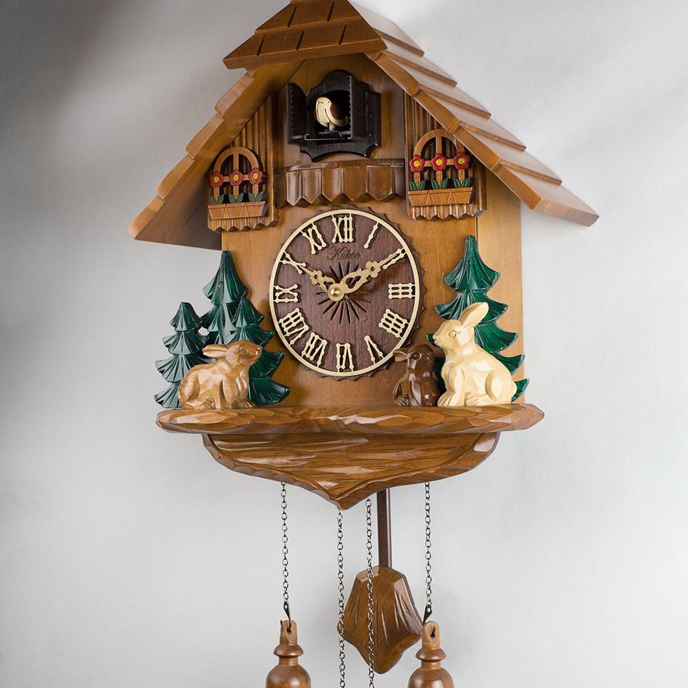 Multicolour Rabbit Wall Cuckoo Clock Wood Sculpture Alarm