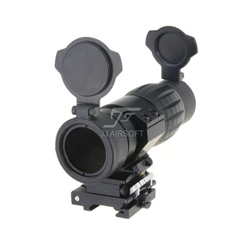 JJ Airsoft 4x FXD Magnifier with Adjustable QD Mount and Killflash / Kill Flash (Black/Tan)