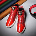 AD AcolorDay 2017 British Style Spring Solid Men Casual Shoes High Top Red Shoes Men Patent Leather Black Men Shoes Luxury Brand