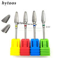 HYTOOS Tungsten Carbide Nail Drill Bit Cuticle Clean Burr Bits For Manicure Pedicure Electric Drill Accessories Gel Removal