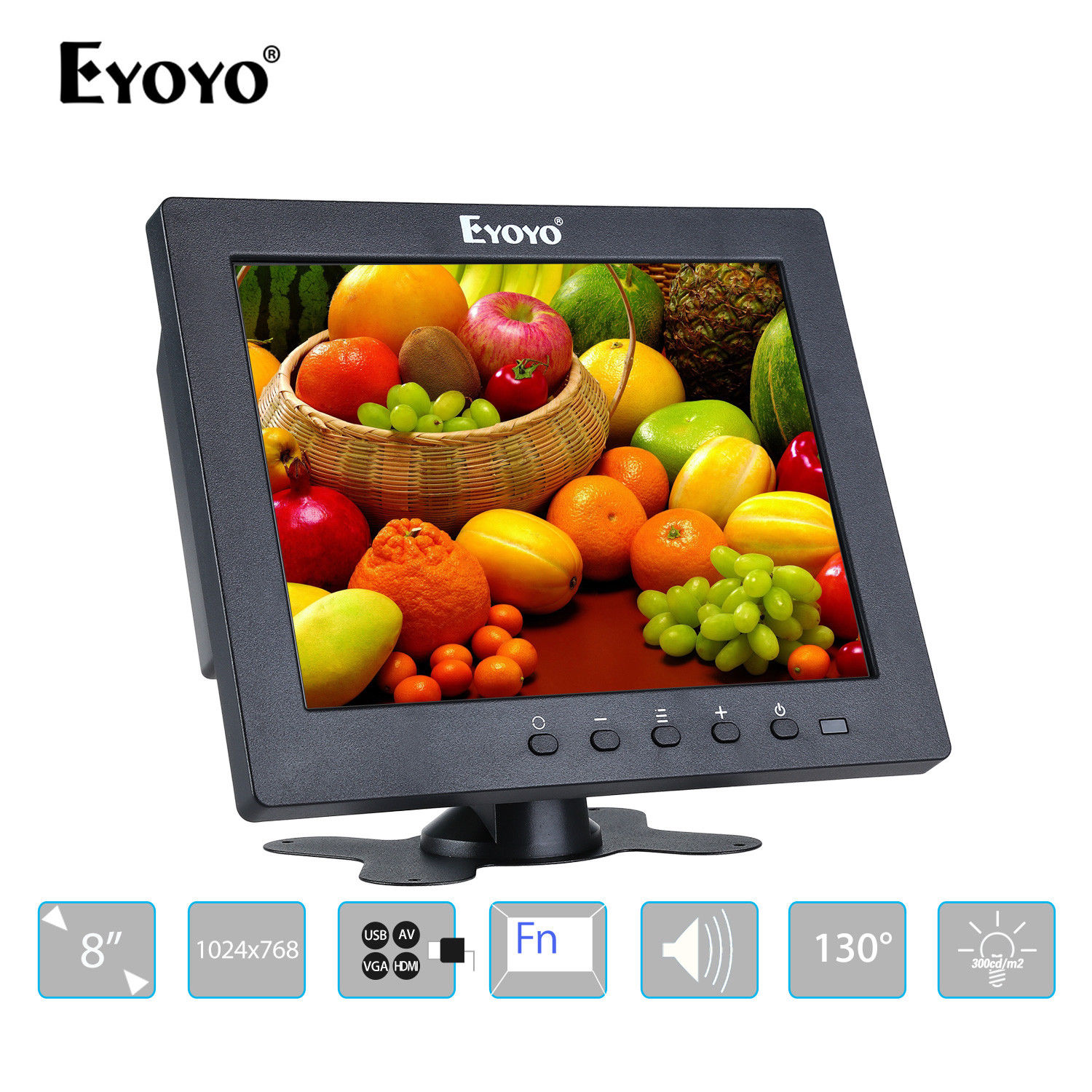 Eyoyo S801T Monitor 8 1024x768 LCD Screen Display With BNC/HDMI Output Built-in Loudspeakers For CCTV DVD PC Laptop DVR Camera eyoyo g08 160 degree 8 inch 400 1 tft lcd monitor screen 4 3 1024 768 hdmi av vga video audio for cctv fpv with loudspeaker