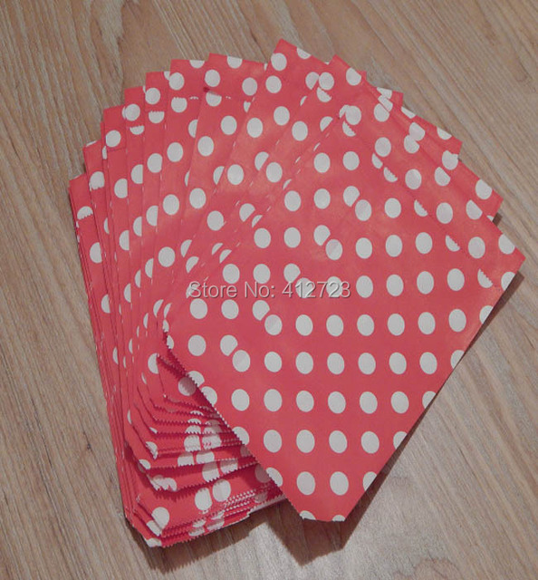 Free Shipping 50pcs Red With White Polka Dot Party Favor Paper Bags Treat