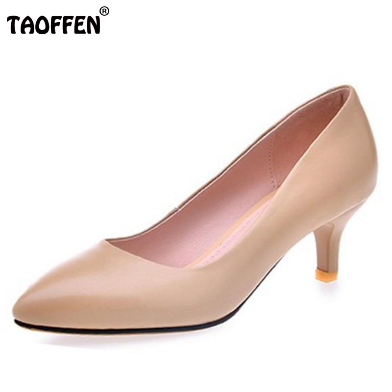 TAOFFEN Size 31-43 Ladies Genuine Leather High Heels Pumps Women Sexy Pointed Toe Slip On Shallow Shoes Women Handmade Pumps odetina women sexy stiletto pointed toe high heels ladies party shoes slip on patent leather pumps flower printing big size 43