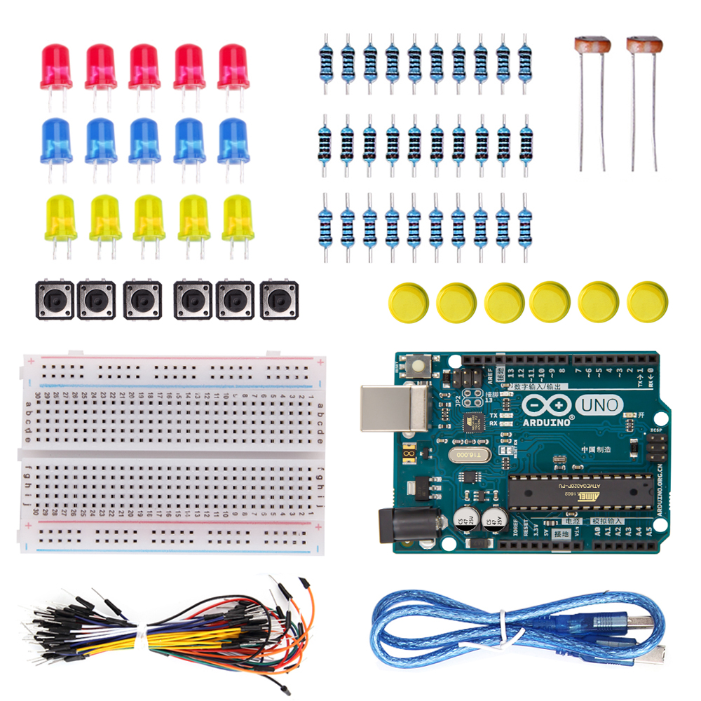 Arduino Uno R3 Starter Kit Including 400 Breadboardjumper Wire Electronic Circuit Jumper Wirebutton Diy Component In Integrated Circuits From Components