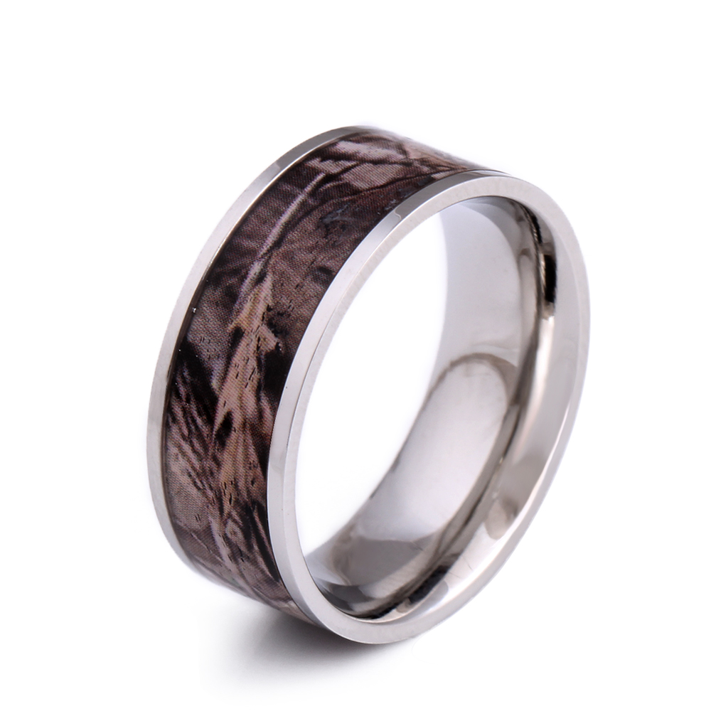 Fashion Wooden Rings For Men Stainless Steel Ring Wood Inlay Dome Wedding  Band Ring Men's Jewelry