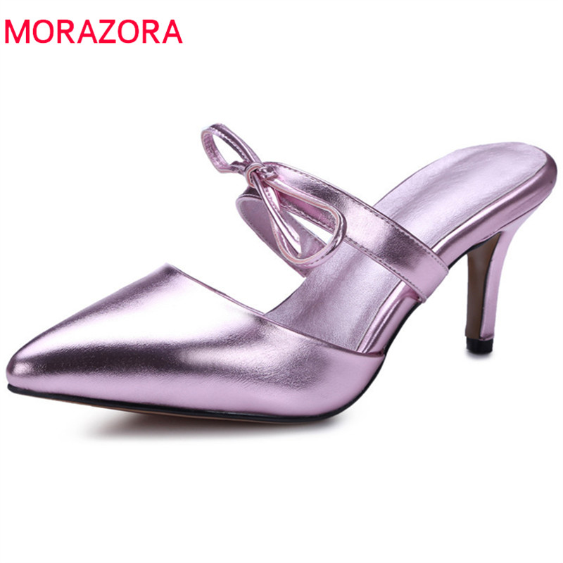 MORAZORA 2018 new arrive women sandals pointed toe sweet bowknot fashion shoes shallow sexy thin high heel party shoes woman lakeshi new fashion pumps thin sexy high heeled shoes woman pointed suede hollow out bowknot sweet elegant women shoes